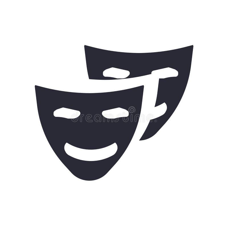 喜剧面具象在白色背景和标志隔绝的传染媒介标志,喜剧面具商标概念 库存例证