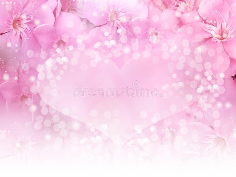 喜帖或华伦泰概念的桃红色花边界和心脏bokeh背景 皇族释放例证