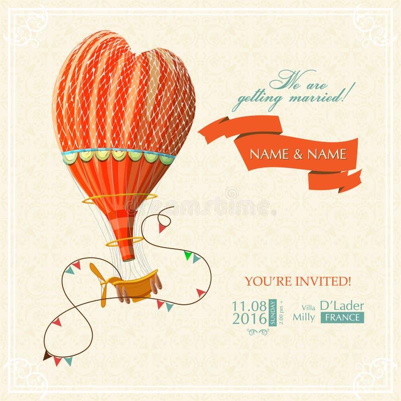 喜帖或邀请与热空气气球和花卉背景 向量例证