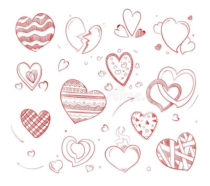 喜帖的手拉的心脏传染媒介乱画象 库存例证