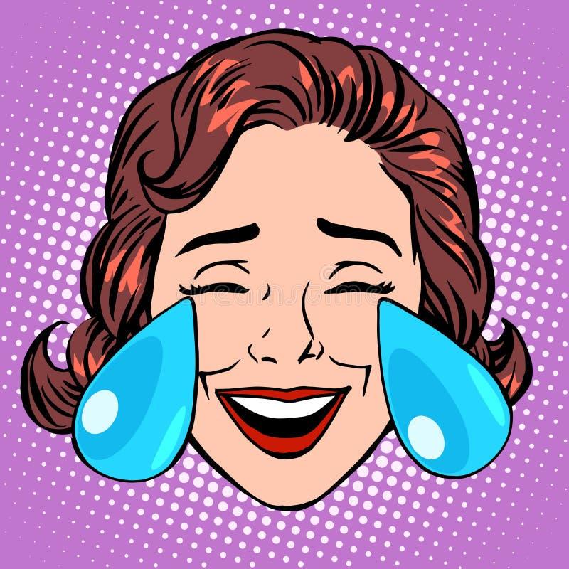 喜悦妇女面孔减速火箭的Emoji泪花  皇族释放例证