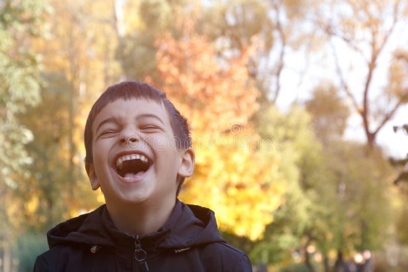 喜悦的情感 一个孩子的美好的微笑在树背景的秋天公园  免版税库存图片