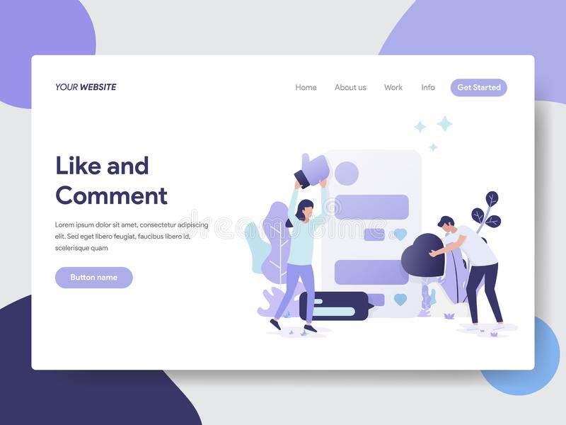 喜欢和评论例证概念登陆的页模板  网页设计的现代平的设计观念网站的和 皇族释放例证