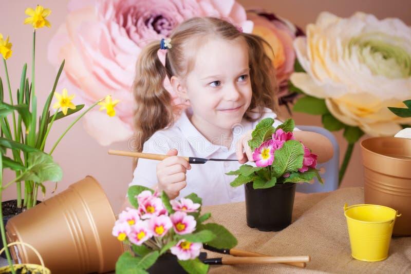 喜欢在花盆的花的女孩 免版税库存照片