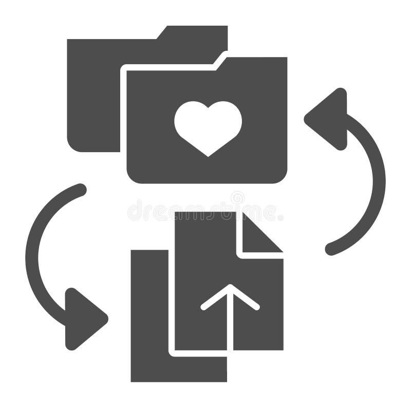 喜爱文件夹坚实象 增加文件到文件夹在白色隔绝的传染媒介例证 与心脏纵的沟纹样式的文件夹 皇族释放例证