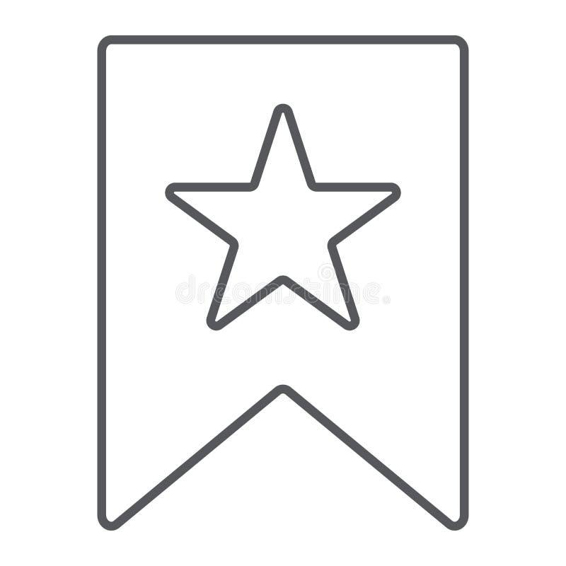 喜爱稀薄的线象、标记和喜爱,按书签与星标志,向量图形,在白色的一个线性样式 库存例证