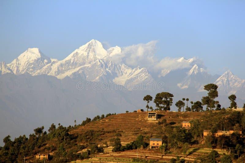 喜马拉雅山和Nagarkot 免版税库存照片