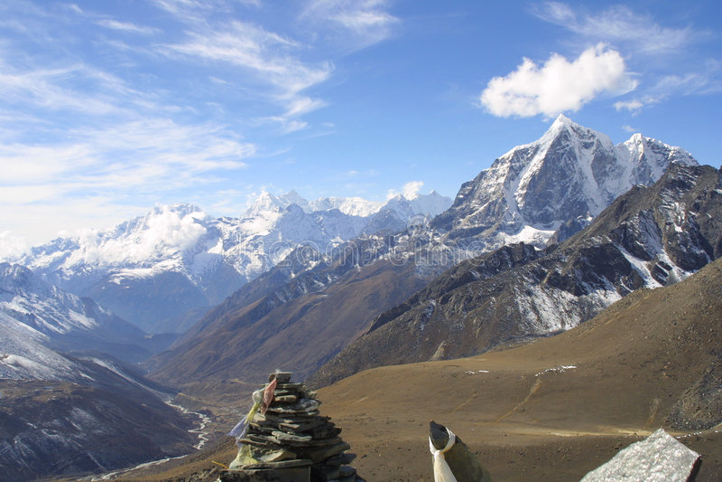 喜马拉雅山尼泊尔山顶 库存图片