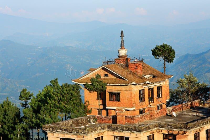 喜马拉雅山的美丽的景色- Nagarkot日出尼泊尔 库存图片