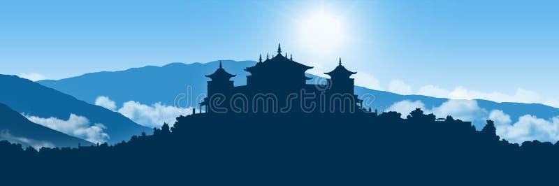 喜马拉雅山风景的西藏修道院 库存例证