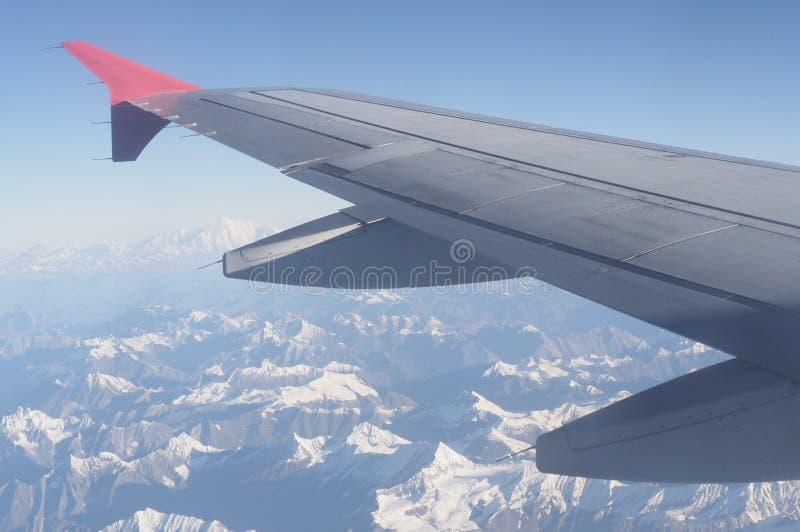 喜马拉雅山从aeroplan的山景 库存照片