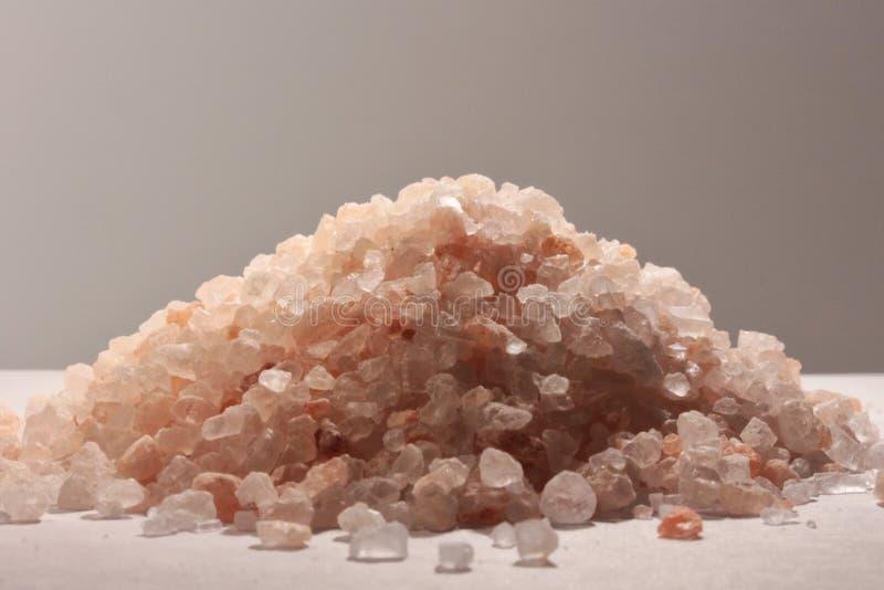喜马拉雅桃红色盐、厨房成份和全部元素 库存图片