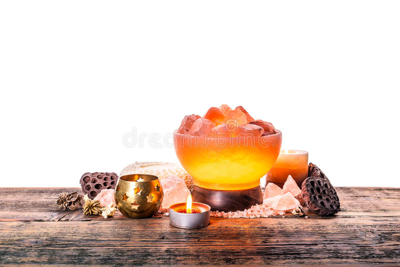 喜马拉雅桃红色盐灯 免版税图库摄影