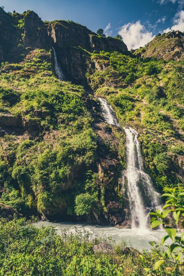 喜马拉雅的山水山谷观 免版税库存照片