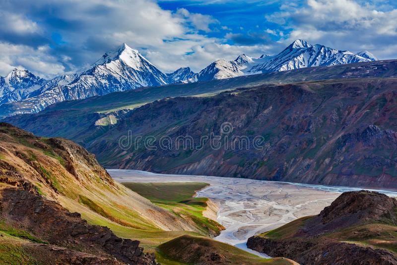 喜马拉雅风景在喜马拉雅山,印度 免版税库存图片