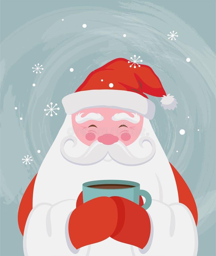 喝一份热的饮料的圣诞老人在scenary的冬天 传染媒介圣诞节例证 库存例证