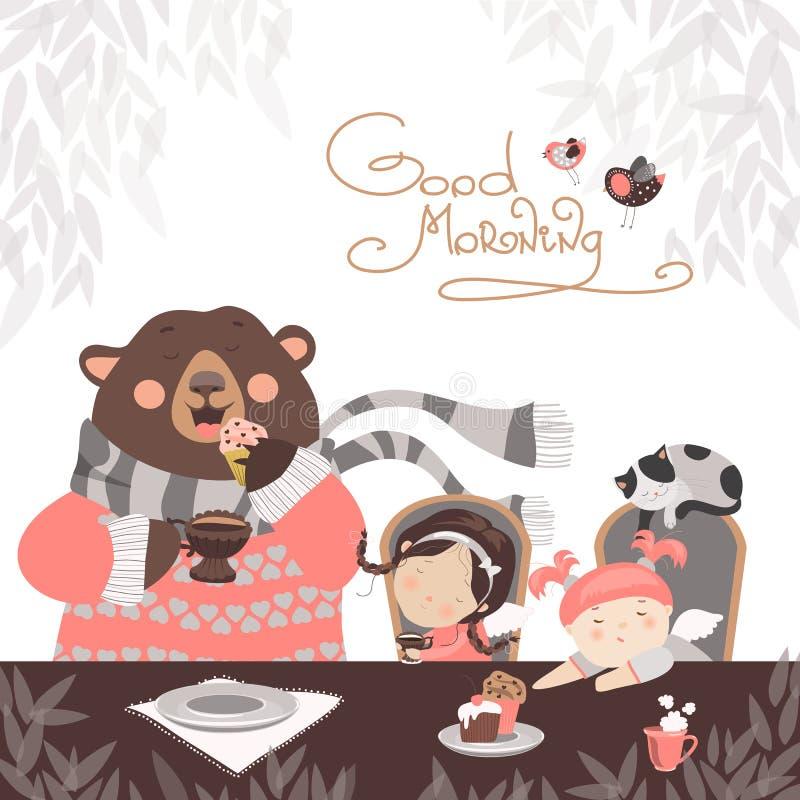 喝与一头逗人喜爱的熊的女孩茶 向量例证