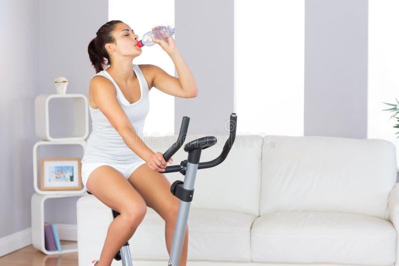喝可爱的苗条的妇女,当训练在锻炼脚踏车时 库存照片