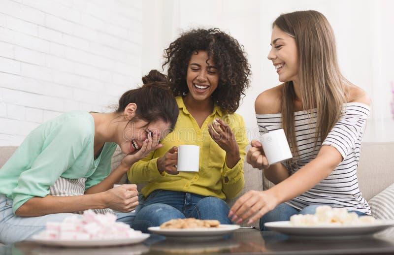 喝咖啡和吃曲奇饼的不同的室友 库存照片