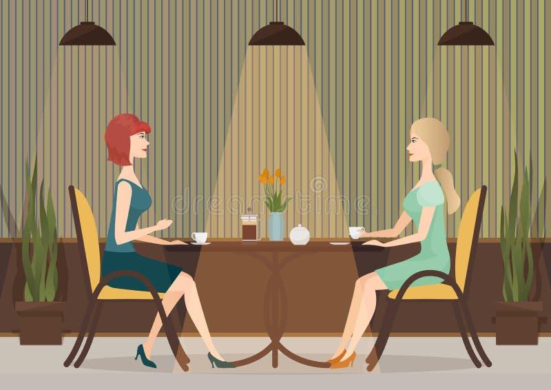 喝咖啡的两个少妇在咖啡馆餐馆 夫人一起女孩午餐 向量例证