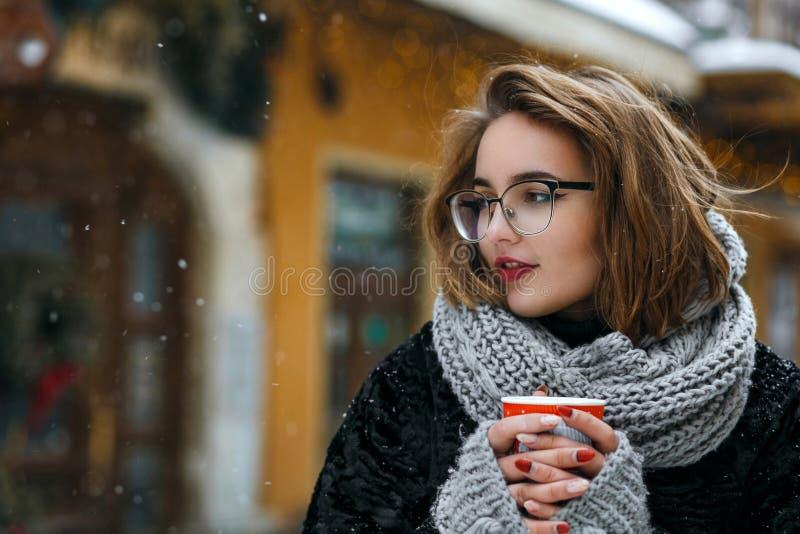 喝咖啡的浪漫深色的女孩戴着眼镜冬天室外画象在街道 空的空间 库存图片