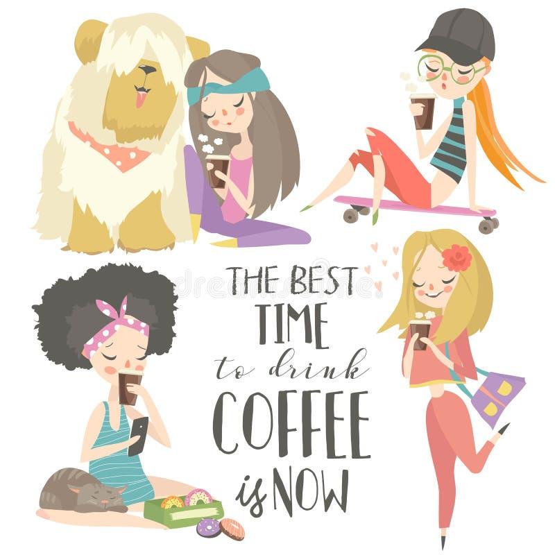 喝咖啡的逗人喜爱的少女 E 库存例证
