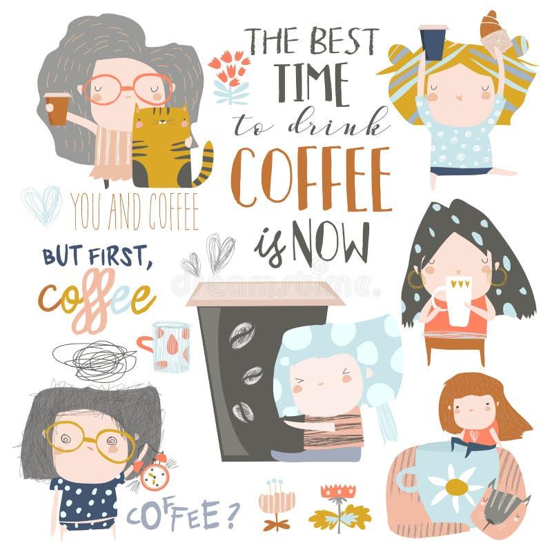 喝咖啡的逗人喜爱的少女 E 向量例证