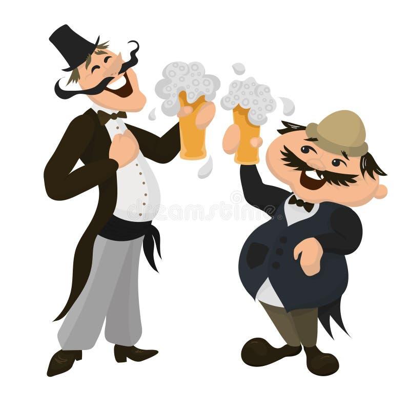 喝啤酒的两个愉快的英国人在一间传统客栈 britney 皇族释放例证
