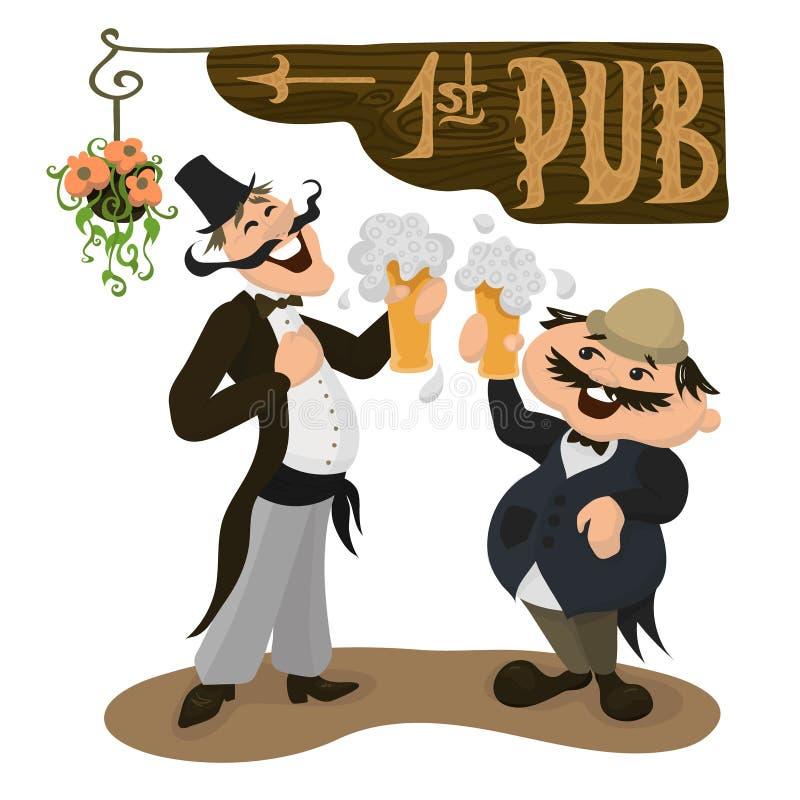 喝啤酒的两个愉快的英国人在一间传统客栈 britney 库存例证