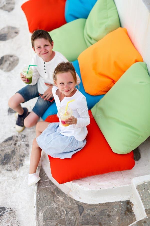 喝圆滑的人的两个孩子户外 免版税库存照片