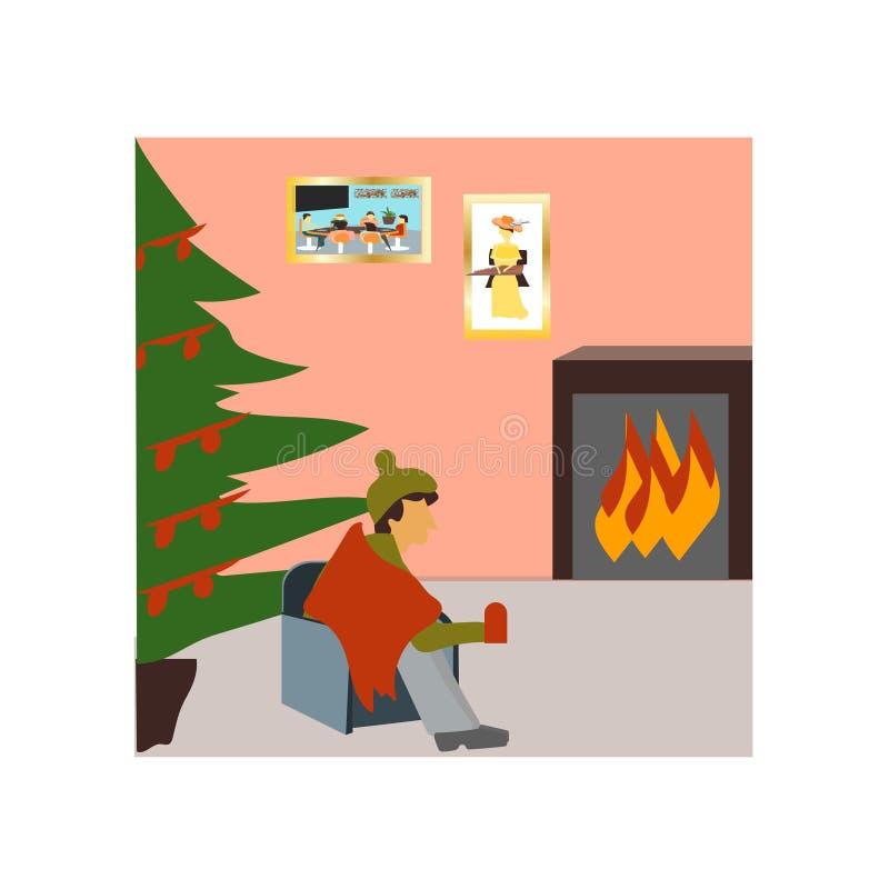 喝在圣诞节传染媒介传染媒介标志和标志的人隔绝在白色背景,喝在圣诞节传染媒介商标的人 向量例证