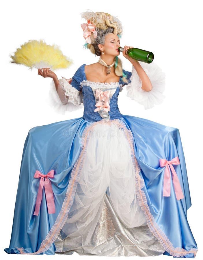 喝查出的妇女的香槟 免版税图库摄影