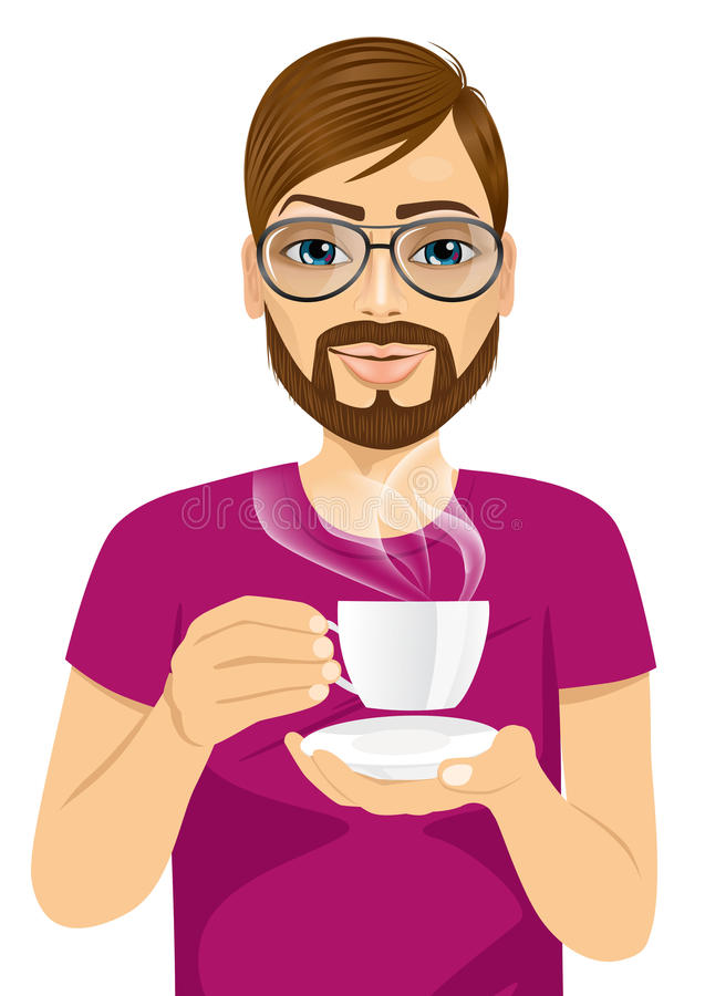 喝热的咖啡或茶的年轻人 库存例证