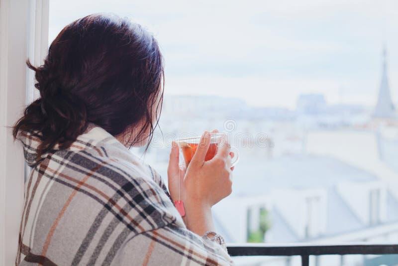 喝热的茶和在家看窗口,舒适冬天的妇女 免版税库存照片