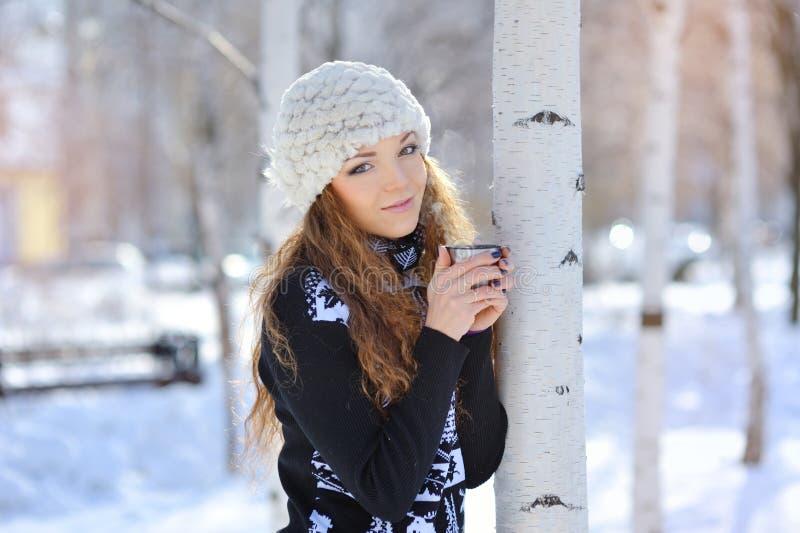 喝热的茶的美丽的女孩在冬天户外 库存照片