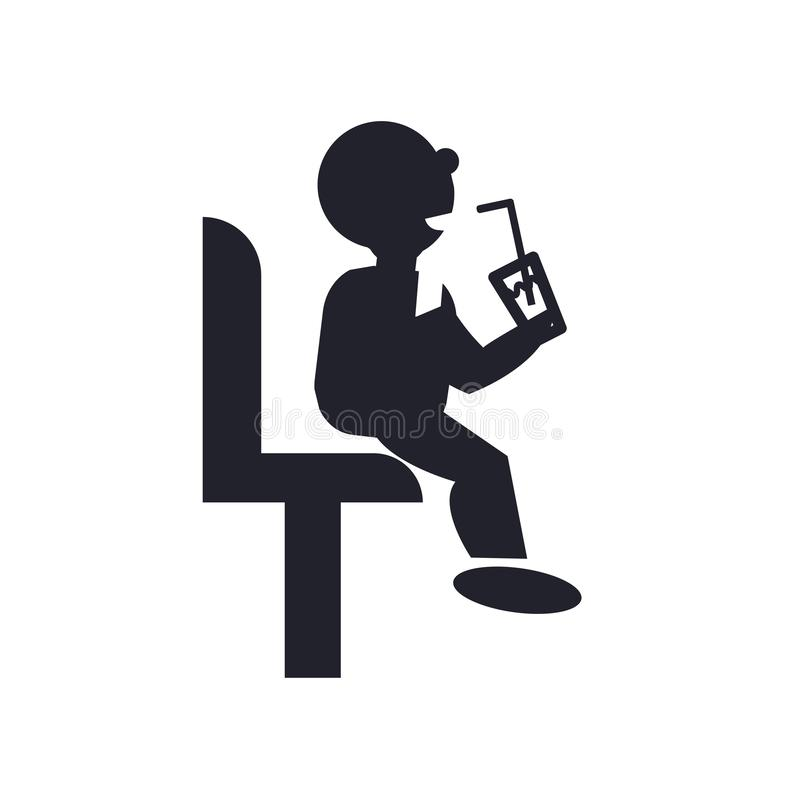 喝苏打象传染媒介标志和标志的坐的人隔绝在白色背景,喝苏打商标概念的坐的人 皇族释放例证