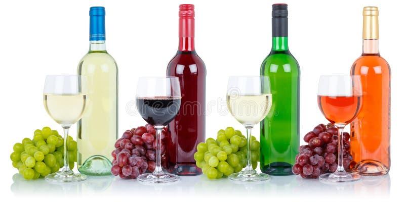 喝酒汇集玻璃瓶酒精饮料葡萄被隔绝的o 免版税库存图片