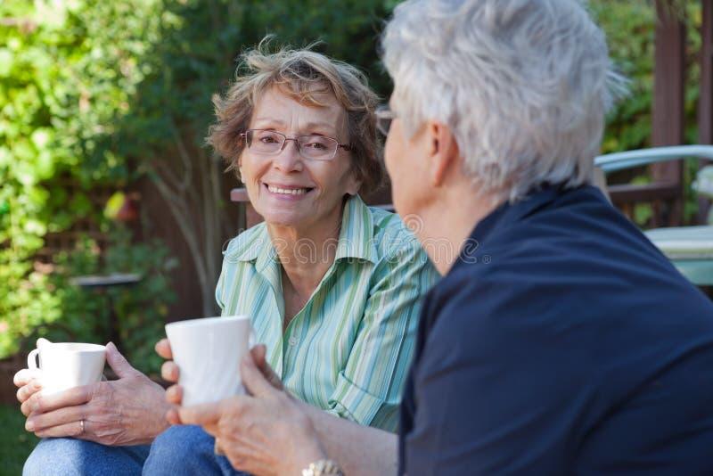 喝高级温暖的妇女 免版税库存图片