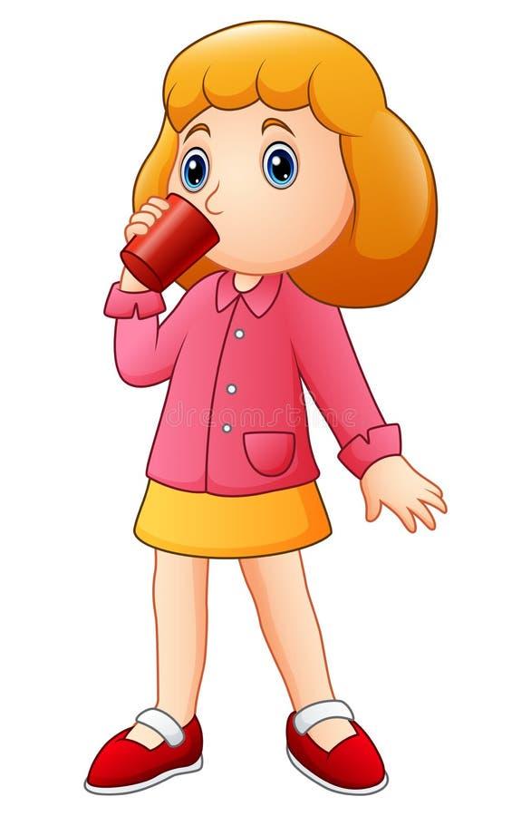 喝从杯子的动画片女孩 库存例证