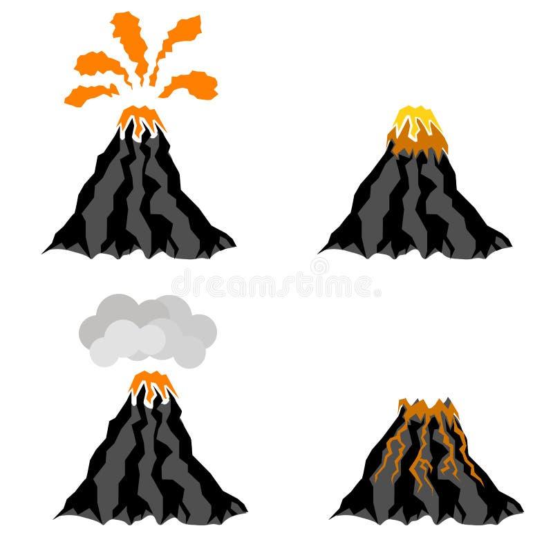 喷发山的峰顶火山 火热的火山口 向量例证