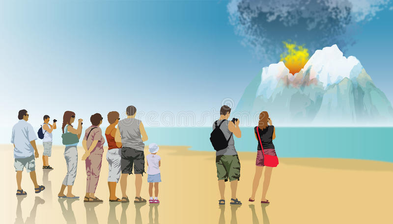 喷发的火山 图库摄影