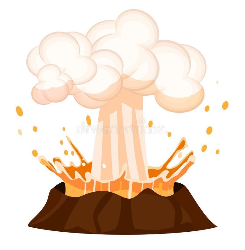 喷发飞溅烧坏的火山的液体下落 皇族释放例证