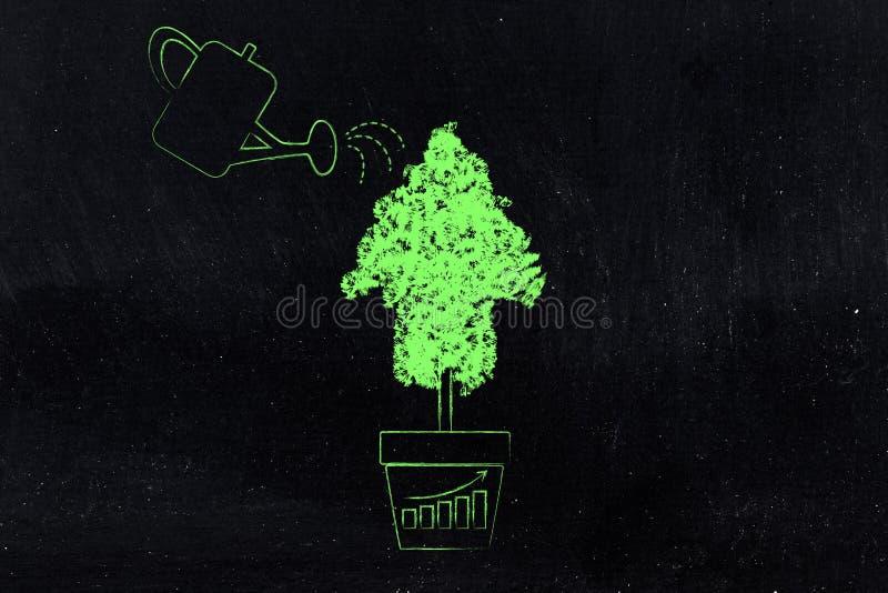 喷壶和树在箭头的形状,哺养的企业gro 皇族释放例证