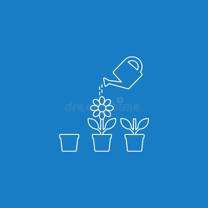 喷壶和花盆进入增长的阶段导航稀薄的线象 库存例证