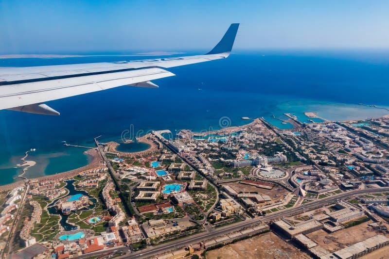 喷气式客机离去埃及 免版税图库摄影