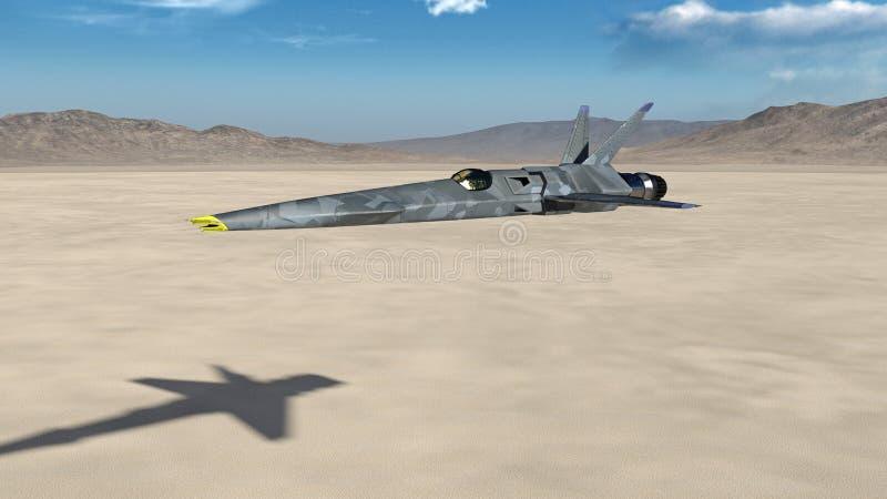 喷气式歼击机、未来派军用飞机飞行在有蓝天的一片沙漠的和山在背景中, 3D回报 向量例证