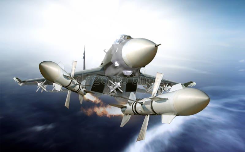 喷气式歼击机在高速的生火导弹 皇族释放例证