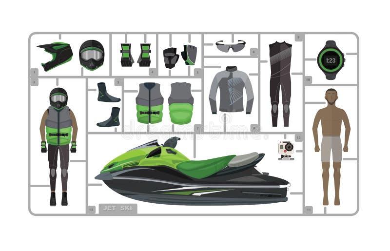 喷气机与在白色隔绝的盔甲的滑雪剪影 库存照片