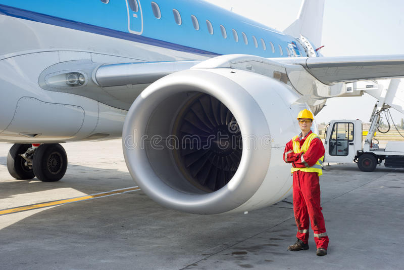 喷气机引擎技工 免版税库存照片