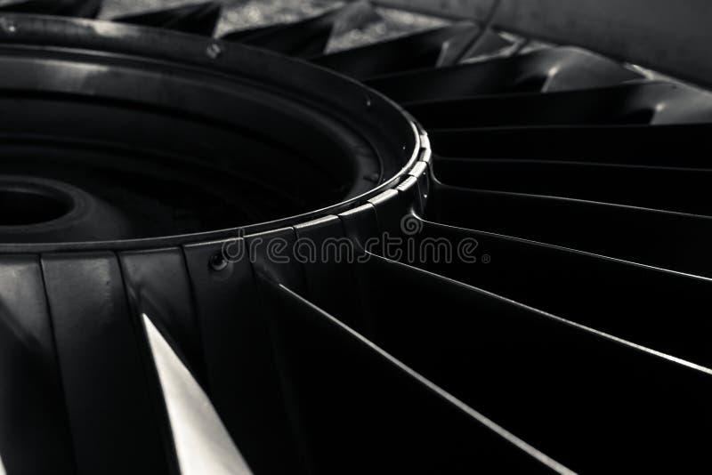 喷气机引擎的特写镜头 免版税库存照片